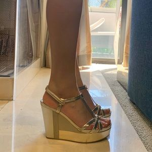 Prada Shoes - Prada Gold Leather T-strap Wedge Sporty Sandal
